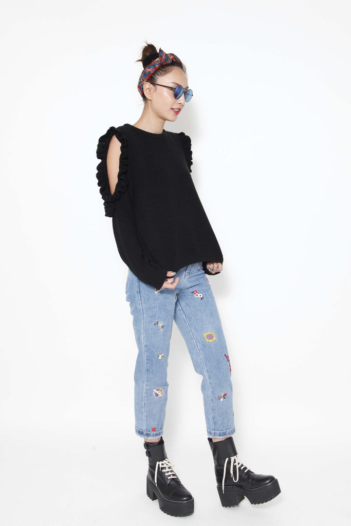 Flowers embroidered jeans - whysocool