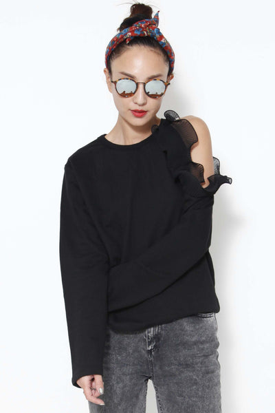 Ruffled cut-out shoulder top - whysocool