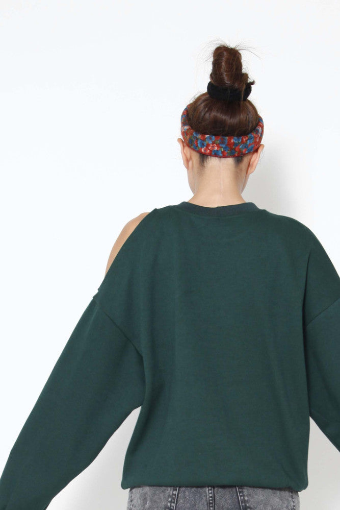 Dark green cold shoulder sweater - whysocool