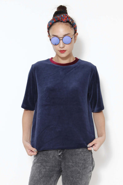 Red-collar and blue velvet top - whysocool