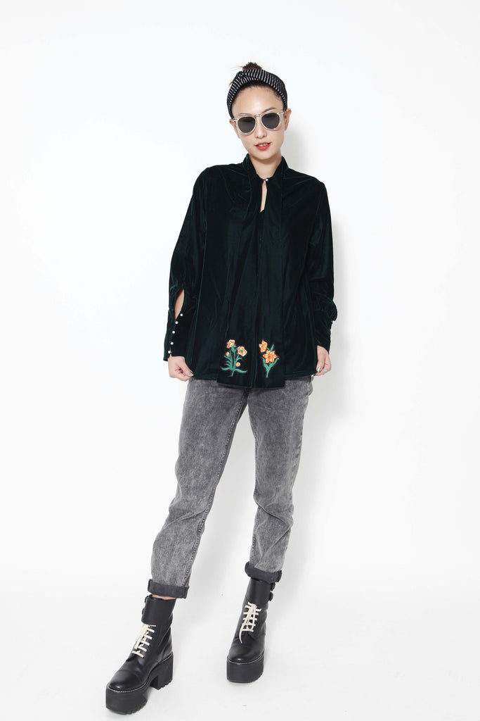 Embroidered velvet top - whysocool