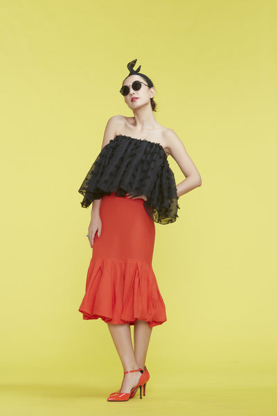 Black Off-Shoulder Ruffle Top 荷葉邊黑色露肩薄紗上衣 - whysocool