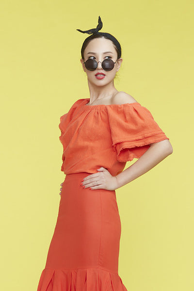 Flamingo Orangey Red Off-Shoulder Top 熱情柿紅露肩上衣 - whysocool