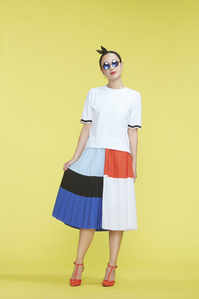 5-Color Patched Pleated Skirt - whysocool