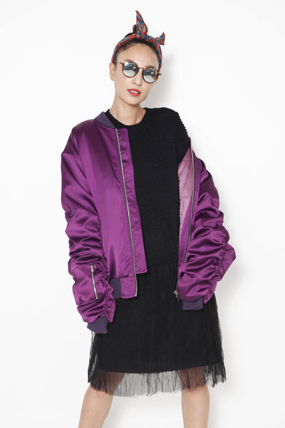 PURPLE  BOMBER JACKET - whysocool