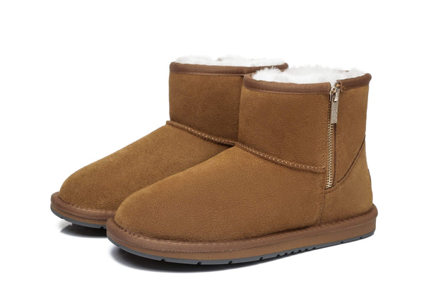 AS Sheepskin Wool Mini Side Zipper Ugg Boots