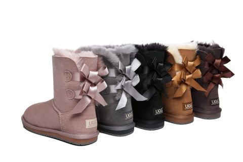 Women Short Ugg Boots with Double Back Bow