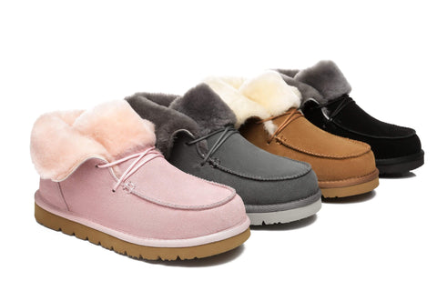 UGG Boots - AS Women Mini Ugg Alaina Casual Ankle Ugg Boots With Wool Collar ?id=14532594892858