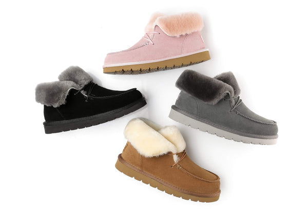 UGG Boots - AS Women Mini Ugg Alaina Casual Ankle Ugg Boots With Wool Collar ?id=14532595351610