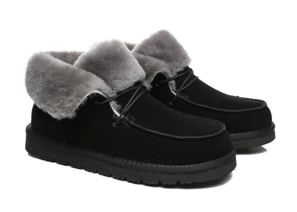 UGG Boots - AS Women Mini Ugg Alaina Casual Ankle Ugg Boots With Wool Collar ?id=14532595384378