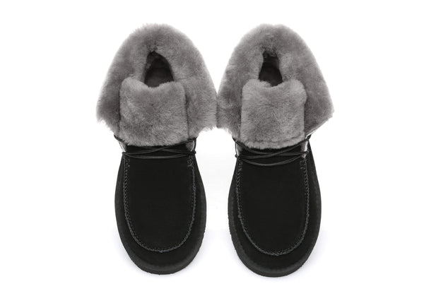UGG Boots - AS Women Mini Ugg Alaina Casual Ankle Ugg Boots With Wool Collar ?id=14532595449914