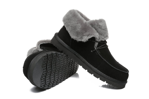 UGG Boots - AS Women Mini Ugg Alaina Casual Ankle Ugg Boots With Wool Collar ?id=14532595515450