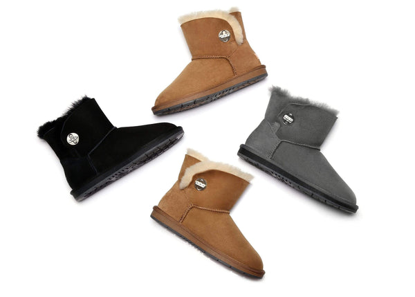 Australian Shepherd UGG Boots Metal Turn Button with Crystal Mini Layton,Diamond Boots #15560 (1787585331258)