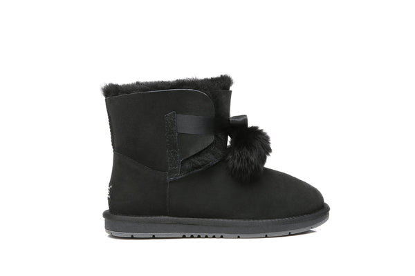 UGG Boots - Ever UGG Ladies Mini Boots With Ribbon Pom Pom Gia #15664 (532865253434) ?id=7932568109114