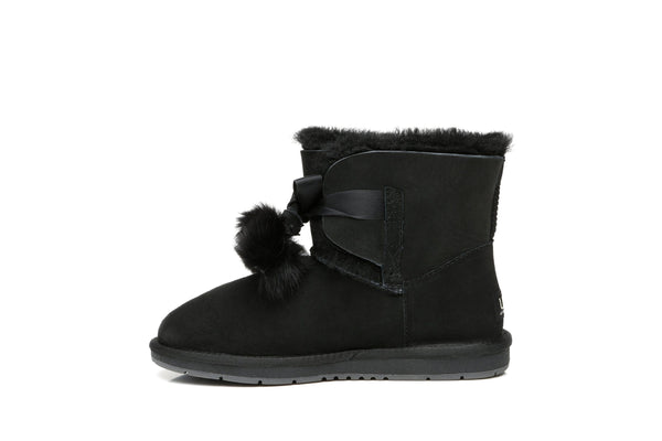 UGG Boots - Ever UGG Ladies Mini Boots With Ribbon Pom Pom Gia #15664 (532865253434) ?id=7932568141882