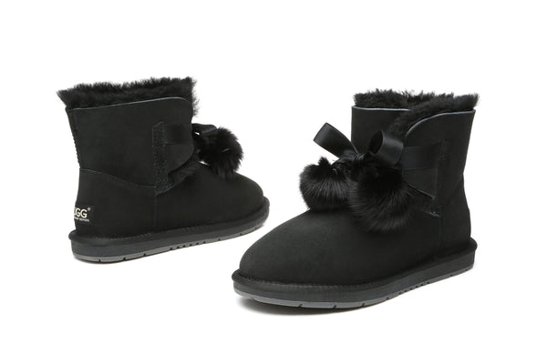 UGG Boots - Ever UGG Ladies Mini Boots With Ribbon Pom Pom Gia #15664 (532865253434) ?id=7932568305722