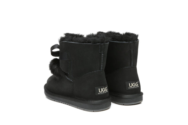 UGG Boots - Ever UGG Ladies Mini Boots With Ribbon Pom Pom Gia #15664 (532865253434) ?id=7932568338490