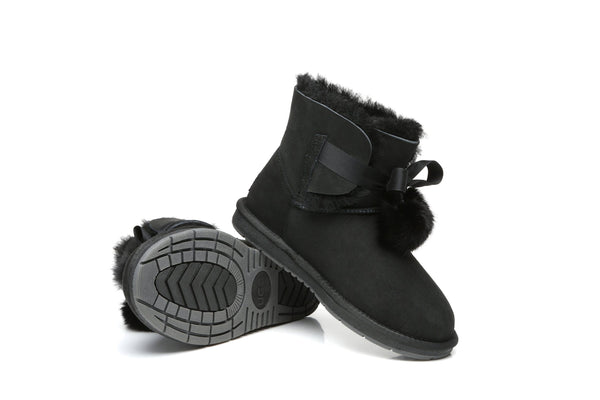 UGG Boots - Ever UGG Ladies Mini Boots With Ribbon Pom Pom Gia #15664 (532865253434) ?id=7932568666170