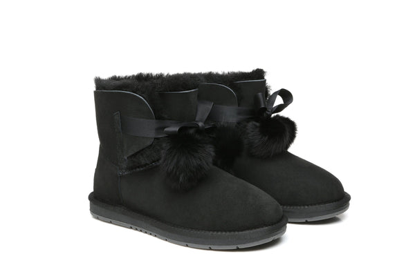 UGG Boots - Ever UGG Ladies Mini Boots With Ribbon Pom Pom Gia #15664 (532865253434) ?id=7932568731706