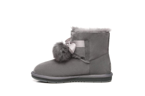 UGG Boots - Ever UGG Ladies Mini Boots With Ribbon Pom Pom Gia #15664 (532865253434) ?id=7932568961082