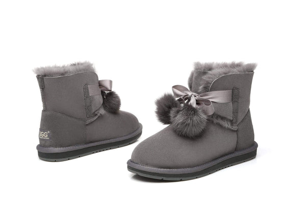 UGG Boots - Ever UGG Ladies Mini Boots With Ribbon Pom Pom Gia #15664 (532865253434) ?id=7932568993850