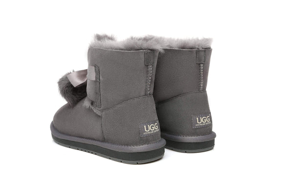 UGG Boots - Ever UGG Ladies Mini Boots With Ribbon Pom Pom Gia #15664 (532865253434) ?id=7932569026618