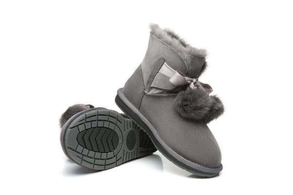 UGG Boots - Ever UGG Ladies Mini Boots With Ribbon Pom Pom Gia #15664 (532865253434) ?id=7932569354298