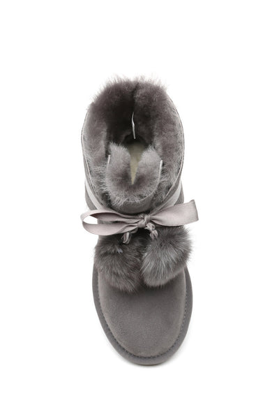 UGG Boots - Ever UGG Ladies Mini Boots With Ribbon Pom Pom Gia #15664 (532865253434) ?id=7932569518138