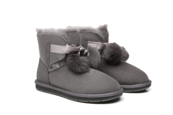 UGG Boots - Ever UGG Ladies Mini Boots With Ribbon Pom Pom Gia #15664 (532865253434) ?id=7932569550906