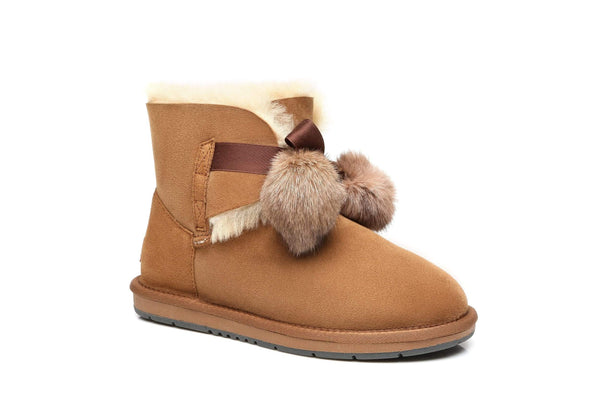 UGG Boots - Ever UGG Ladies Mini Boots With Ribbon Pom Pom Gia #15664 (532865253434) ?id=7932567617594