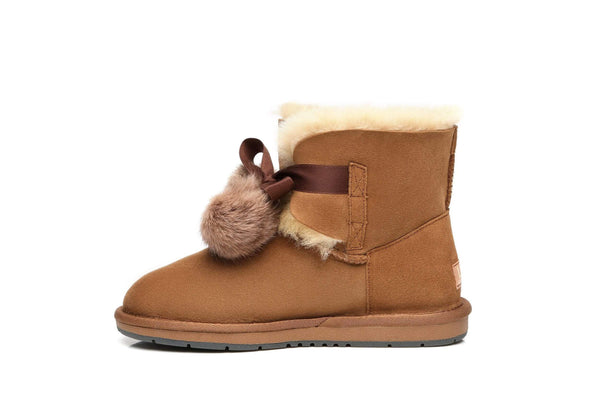 UGG Boots - Ever UGG Ladies Mini Boots With Ribbon Pom Pom Gia #15664 (532865253434) ?id=7932567650362