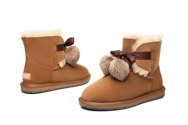 UGG Boots - Ever UGG Ladies Mini Boots With Ribbon Pom Pom Gia #15664 (532865253434) ?id=7932567715898