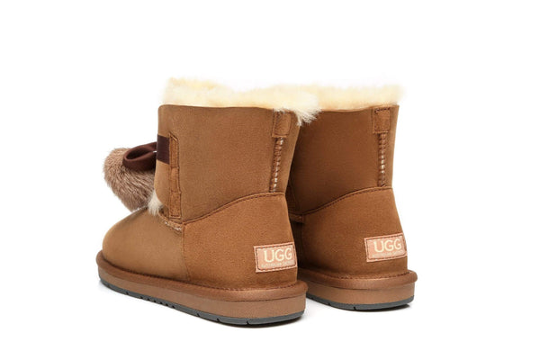 UGG Boots - Ever UGG Ladies Mini Boots With Ribbon Pom Pom Gia #15664 (532865253434) ?id=7932567781434