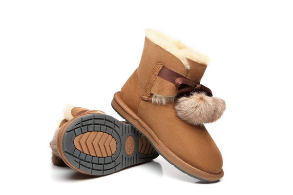 UGG Boots - Ever UGG Ladies Mini Boots With Ribbon Pom Pom Gia #15664 (532865253434) ?id=7932567814202