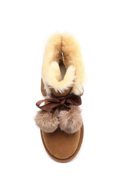 UGG Boots - Ever UGG Ladies Mini Boots With Ribbon Pom Pom Gia #15664 (532865253434) ?id=7932568043578