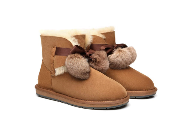 UGG Boots - Ever UGG Ladies Mini Boots With Ribbon Pom Pom Gia #15664 (532865253434) ?id=7932568076346