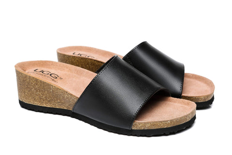 UGG Boots - Women Sandals Megan Platform Leather Wedge Slides ?id=14484153303098