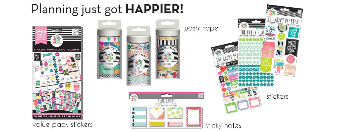 HAPPY PLANNER - PLANNER STICKERS, STAMPS, WASHI TAPE - WASHIGANG