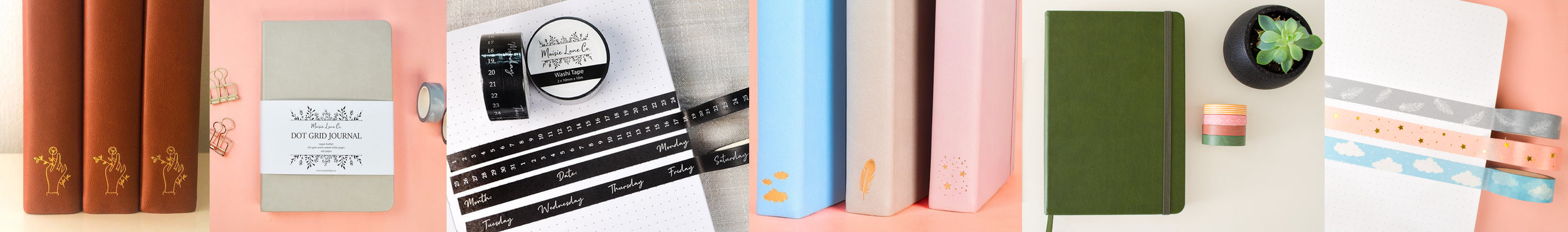 MAISIE LANE CO DOT GRID BULLET JOURNALS AND WASHI TAPES