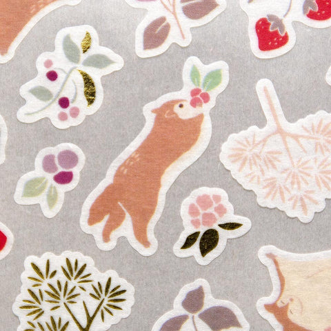 YAMA LIFE WASHI PAPER STICKERS : FLYING SQUIRREL