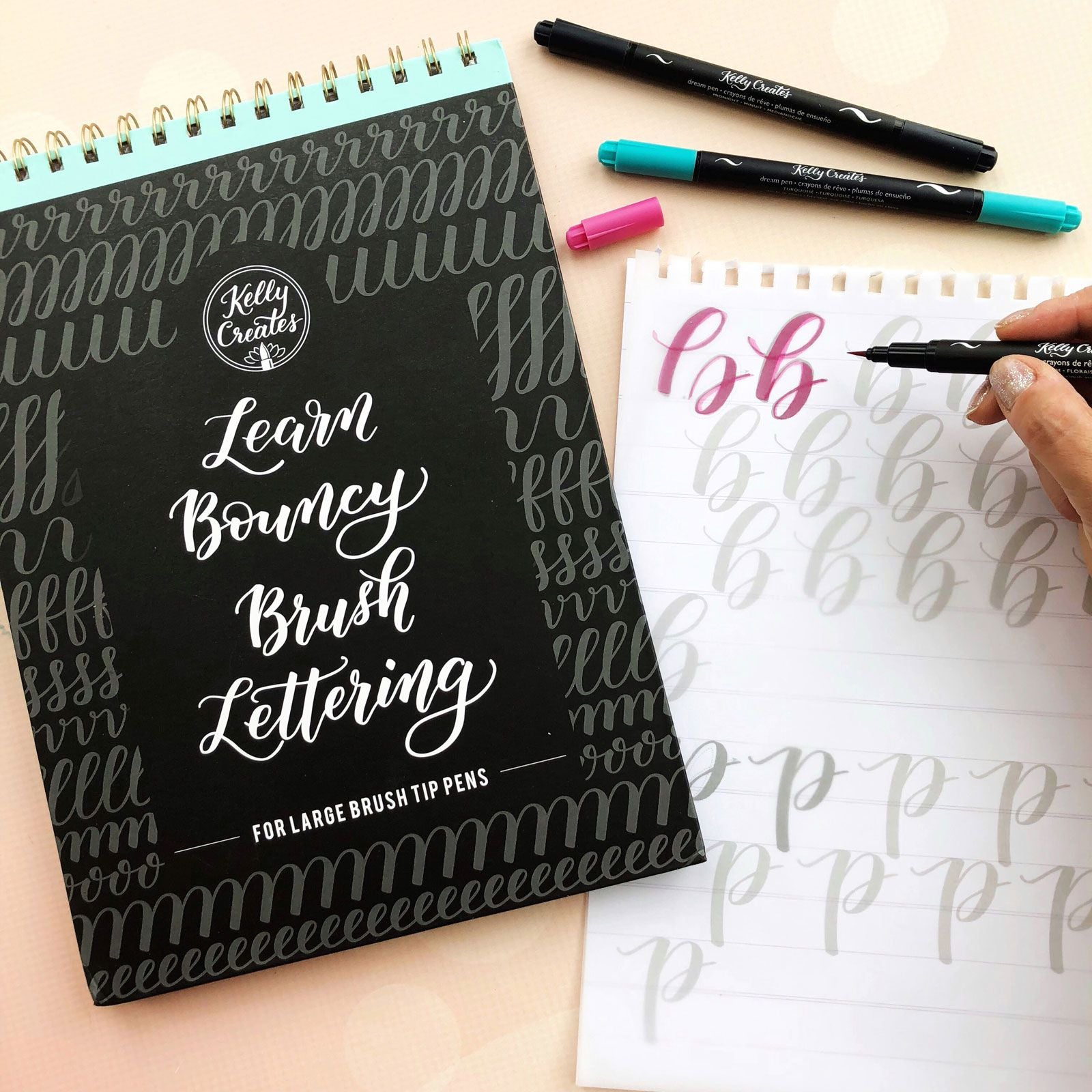 BRUSH LETTERING WORKBOOK : BOUNCY : LARGE BRUSH TIP PENS