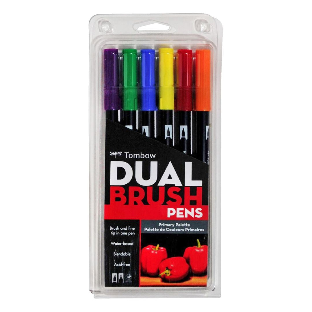 DUAL BRUSH PENS 6PK : PRIMARY COLOURS
