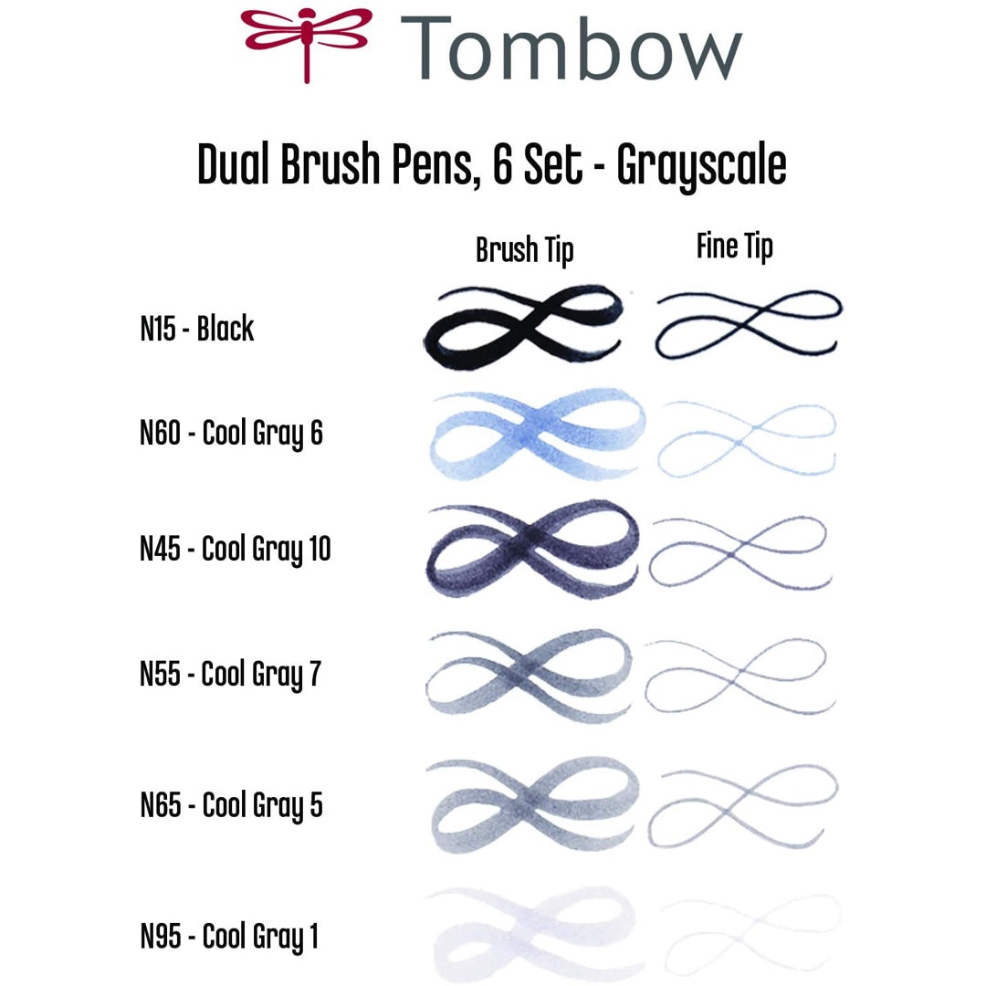 DUAL BRUSH PENS 6PK : GREYSCALE COLOURS