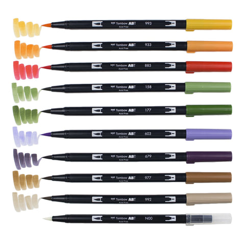 DUAL BRUSH PENS 10PK : SECONDARY COLOURS