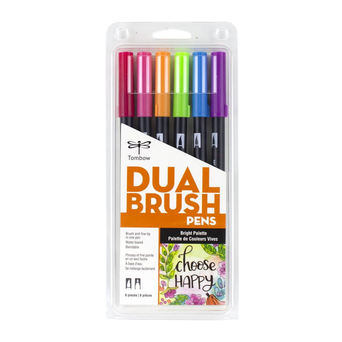 DUAL BRUSH PENS 6PK : BRIGHT COLOURS