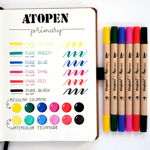 ĀTOPEN DUAL TIP FINELINER/BRUSH PENS - PRIMARY 6PK