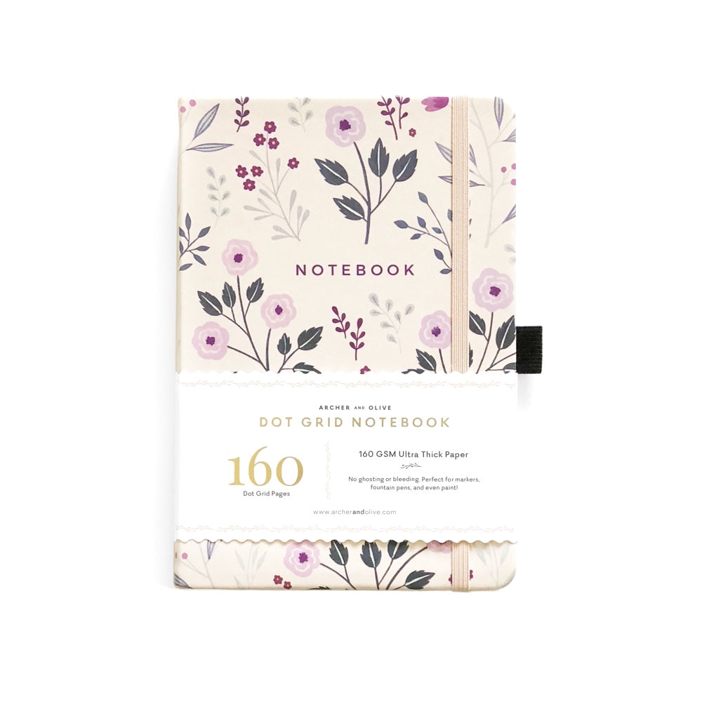 A5 DOT GRID NOTEBOOK : PAINTED FLOWERS