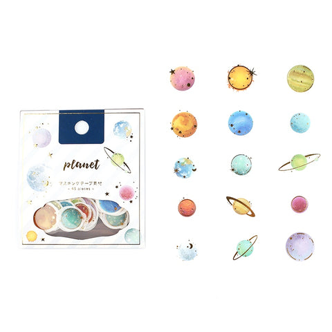 WASHI PAPER FLAKE STICKERS : PLANETS