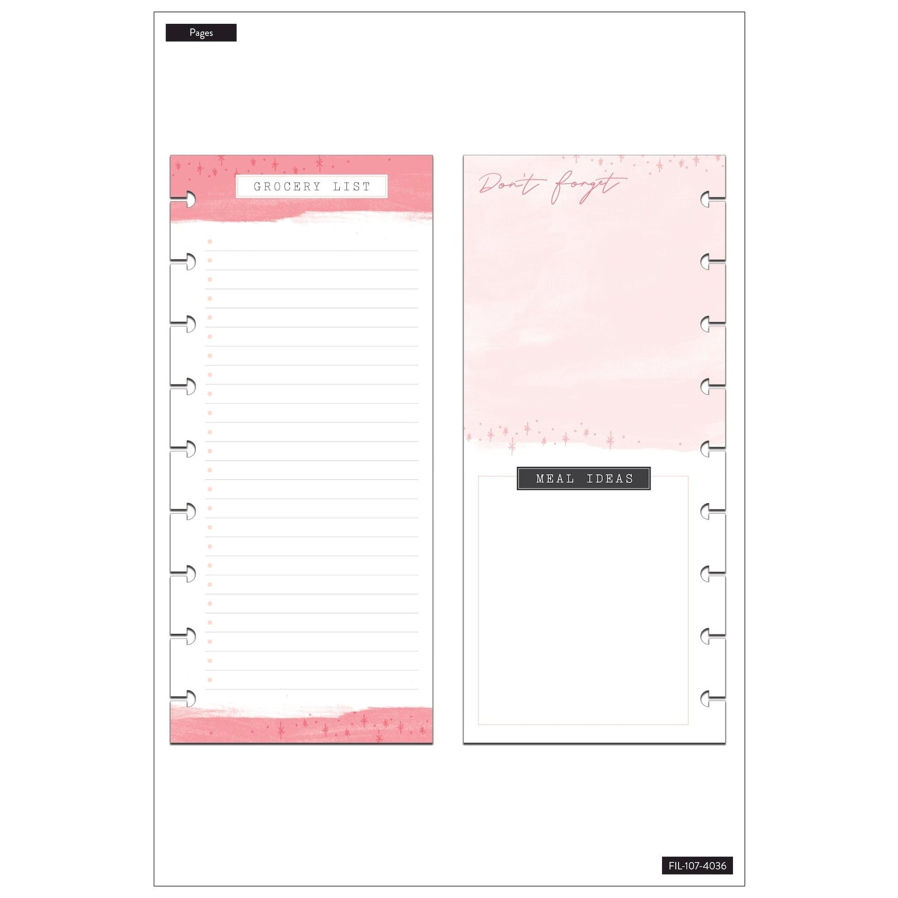 HALF-SHEET NOTE PAPER - MEAL PLAN & GROCERY LIST : CLASSIC HAPPY PLANNER
