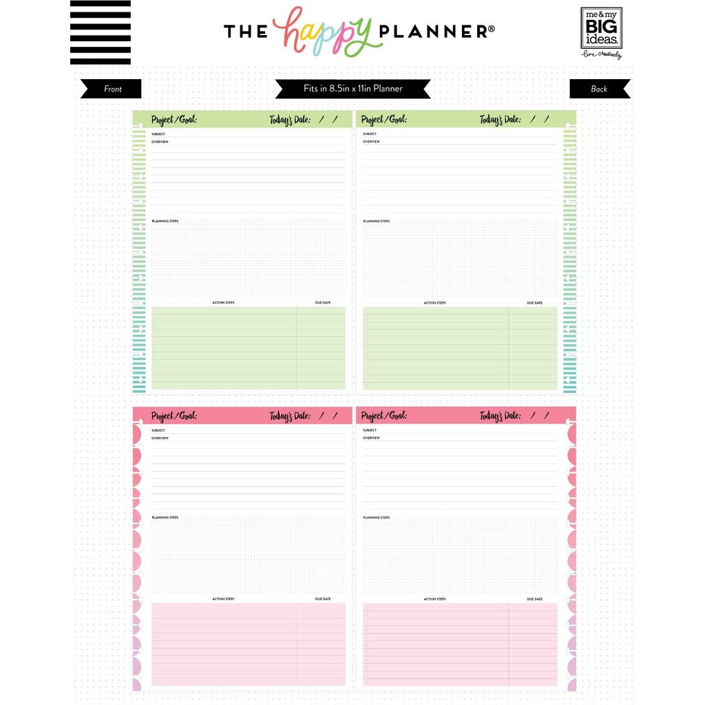 NOTE PAPER - PROJECTS : BIG HAPPY PLANNER